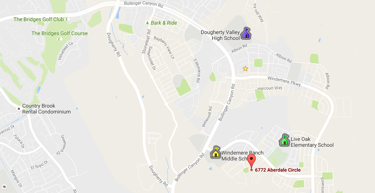 6772 Aberdale Circle San Ramon Ca 94582 schools map